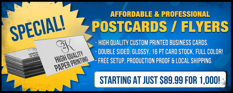 Custom Printing Postcards Flyers Special