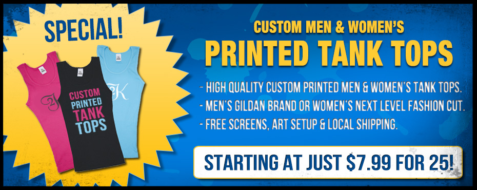 Custom Screen Printed Tank Tops Specials