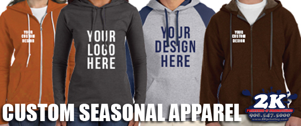 Screen Printed Or Embroidered Hoodies, Sweatshirts, Crewnecks & More For The Season!