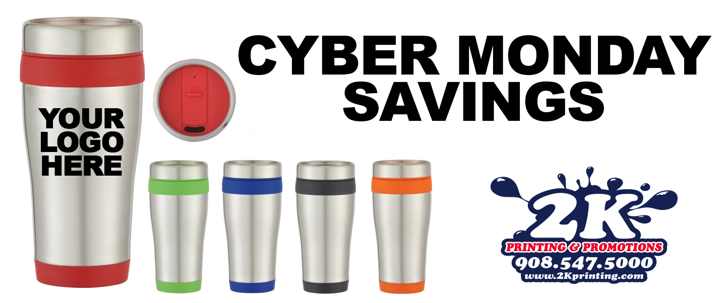 Custom Imprinted Travel Coffee Mugs Cyber Monday Special 2k Printing